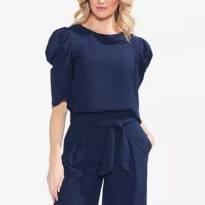 VINCE CAMUTO Pinstripe Bubble-Sleeve Top